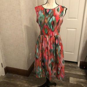 Ellen Tracy bright water color mini dress 8
